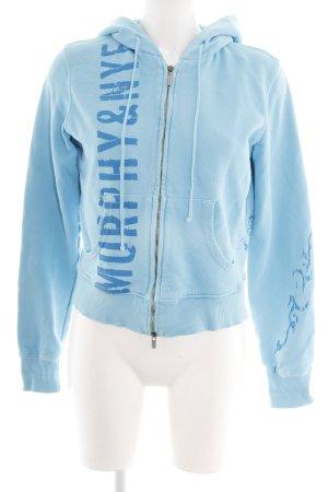 Murphy & nye Cardigan blau Schriftzug gedruckt sportlicher Stil