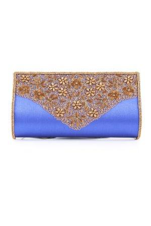 Musa Clutch blau-bronzefarben Elegant