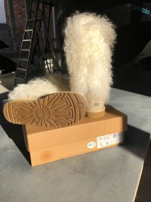 UGG Australia Fur Boots natural white-bronze-colored leather