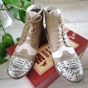 MUSTANG Boots Stiefeletten texturiert Schnürer beige Gr.39