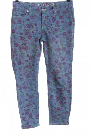 Mustang Five-Pocket Trousers blue-pink allover print casual look