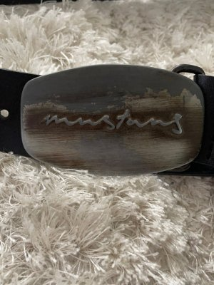Mustang Leather Belt black-grey