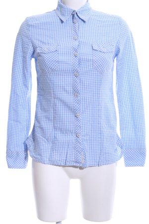 Mustang Hemd-Bluse blau-weiß Karomuster Business-Look