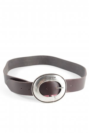 Mustang Leather Belt brown-silver-colored casual look