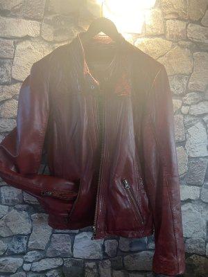 Mustang Veste en cuir rouge foncé cuir