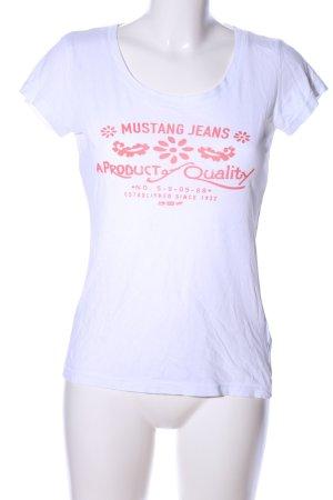 Mustang Print-Shirt weiß-rot Schriftzug gedruckt Casual-Look
