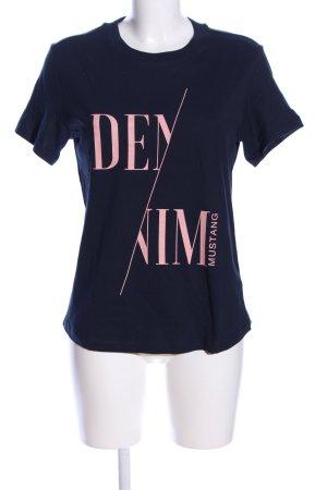 Mustang Print-Shirt blau-pink Motivdruck Casual-Look