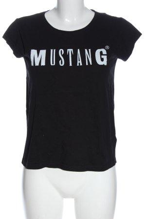 Mustang T-shirt imprimé noir-blanc lettrage imprimé style décontracté