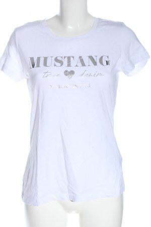 Mustang Camiseta estampada blanco-color plata letras impresas look casual