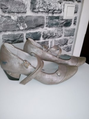Mustang Backless Pumps grey brown-silver-colored imitation leather