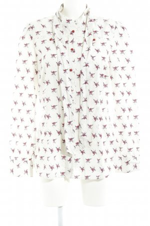 Mustang Tie-neck Blouse natural white-dark red flower pattern casual look