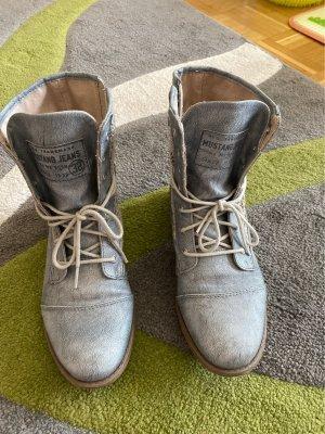 Mustang Shoes Kozaki sznurowane jasnoniebieski