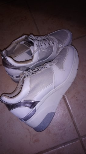 Mustang Sneakers met hak wit-zilver