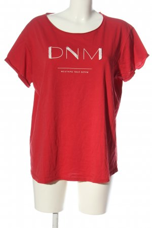 Mustang T-shirt rosso caratteri stampati stile casual