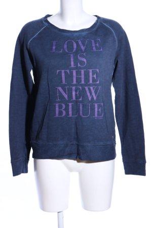Mustang Sweatshirt blau-lila Schriftzug gedruckt Casual-Look