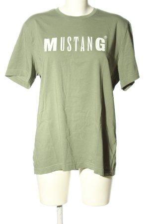 Mustang T-Shirt khaki-weiß Schriftzug gedruckt Casual-Look