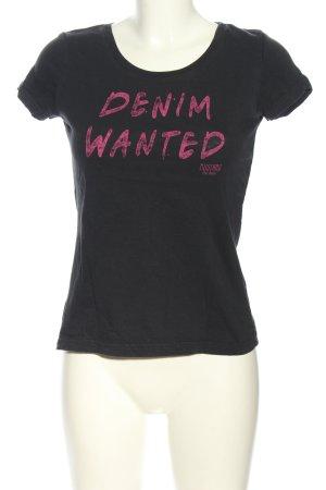 Mustang T-Shirt hellgrau-pink Schriftzug gedruckt Casual-Look