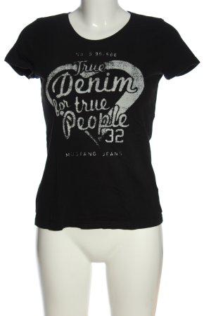 Mustang T-shirt nero-bianco caratteri stampati stile casual