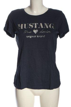Mustang Camiseta azul letras impresas look casual