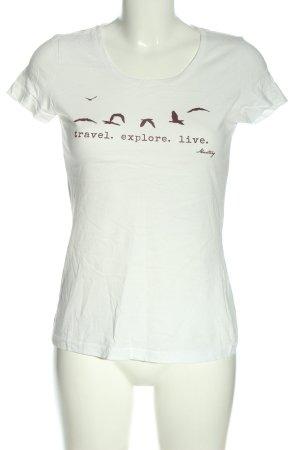 Mustang T-shirt blanc imprimé avec thème style décontracté