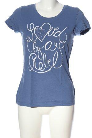 Mustang T-Shirt blau-weiß Motivdruck Casual-Look