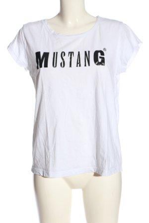 Mustang T-Shirt weiß-schwarz Schriftzug gedruckt Casual-Look