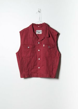 Mustang Unisex Denim Jacket in Rot