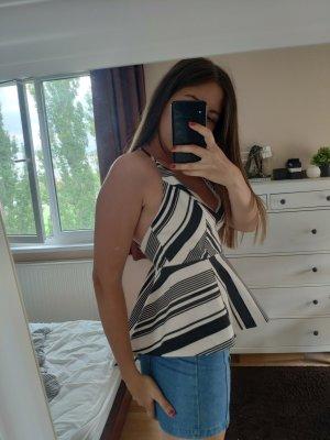 Camisa con cuello caído blanco-negro