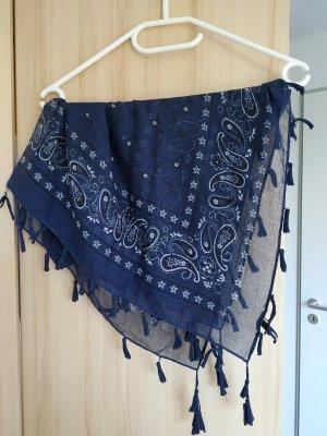 Tally Weijl Écharpe à franges bleu foncé-blanc
