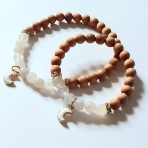 Bracelet en perles blanc-marron clair
