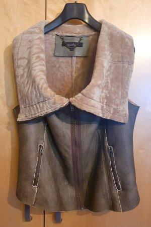 Muubaa Fur vest grey leather