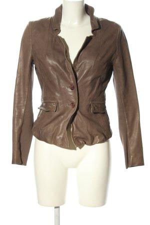 Muubaa Veste en cuir brun style décontracté