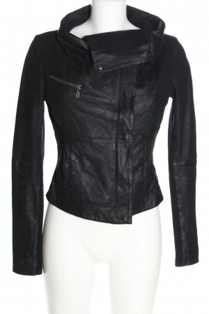 Muubaa Veste en cuir noir style décontracté