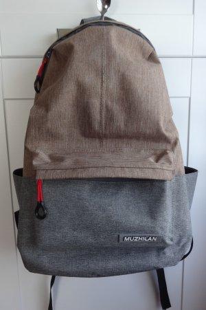 MUZHILAN Rucksack mit Ladekabeldurchführung in grau & beige - letzte Reduzierung