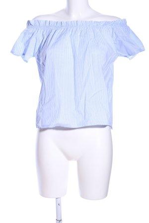 Carmen-Bluse blau-weiß Allover-Druck Casual-Look