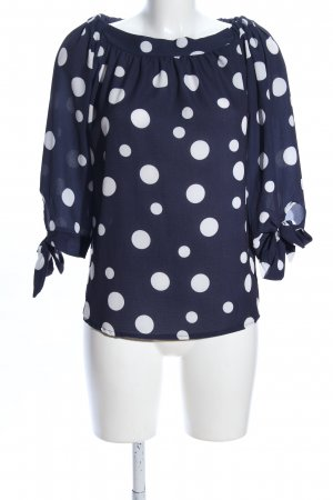 My Holly's Carmen-Bluse blau-weiß Punktemuster Business-Look
