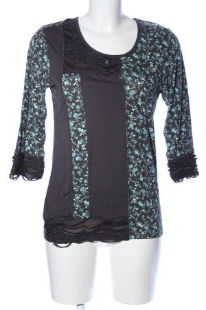 My Own Longshirt schwarz-türkis Blumenmuster Casual-Look
