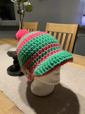 Cappello all'uncinetto fucsia neon-verde neon Lana