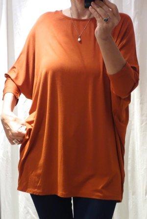 My Style Shirt, Sweater, Longshirt, oversize, Fledermausärmel, 3/4 Arm, Y- Form, oben weit nach unten schmäler, orange, cognac, made in Italy, Jersey, Viskose 95%, Elasthane 5%, NEU mit Etikette, Gr. L, XL, XXL