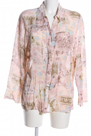 my way fer Transparenz-Bluse pink abstraktes Muster Casual-Look
