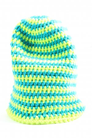 myboshi Bonnet en crochet turquoise-jaune primevère motif rayé