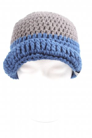 myboshi Crochet Cap blue-light grey cable stitch casual look