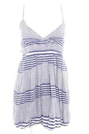 Mymo Balloon Dress blue-white striped pattern elegant