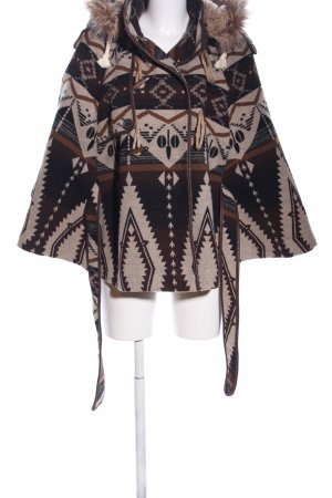 Mymo Cape wollweiß-braun grafisches Muster Casual-Look