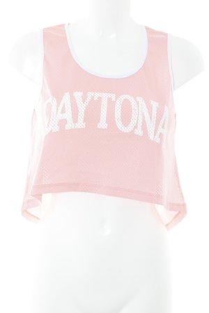 Mymo Cropped Top rosa Schriftzug gedruckt sportlicher Stil