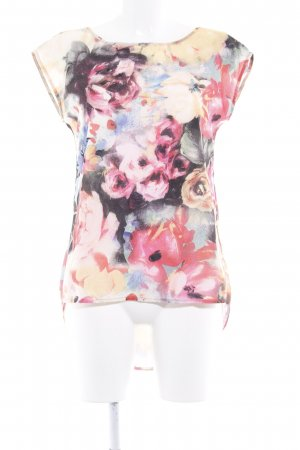 Mymo Kurzarm-Bluse Blumenmuster Textil-Applikation