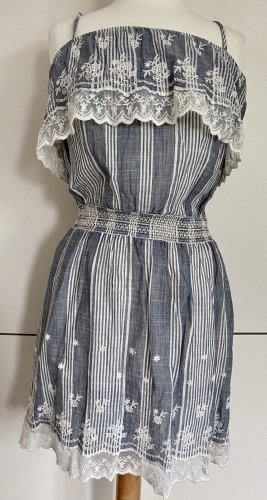 MYMO Lochstickerei Spitze S 36 grau blau creme gestreift Minikleid Mini Kleid