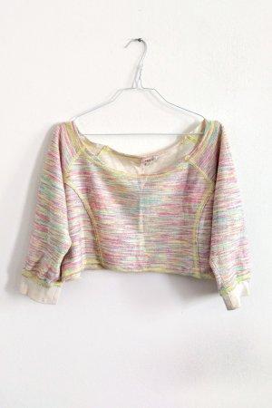 myMo Sweatshirts Pulli Croptop in Pastelltönen gelb rosa türkis M / 40