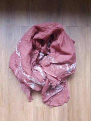 Mynuka Jedwabny szal biały-różowy