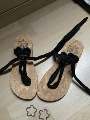 my shoes Sandalo toe-post nero-marrone chiaro
